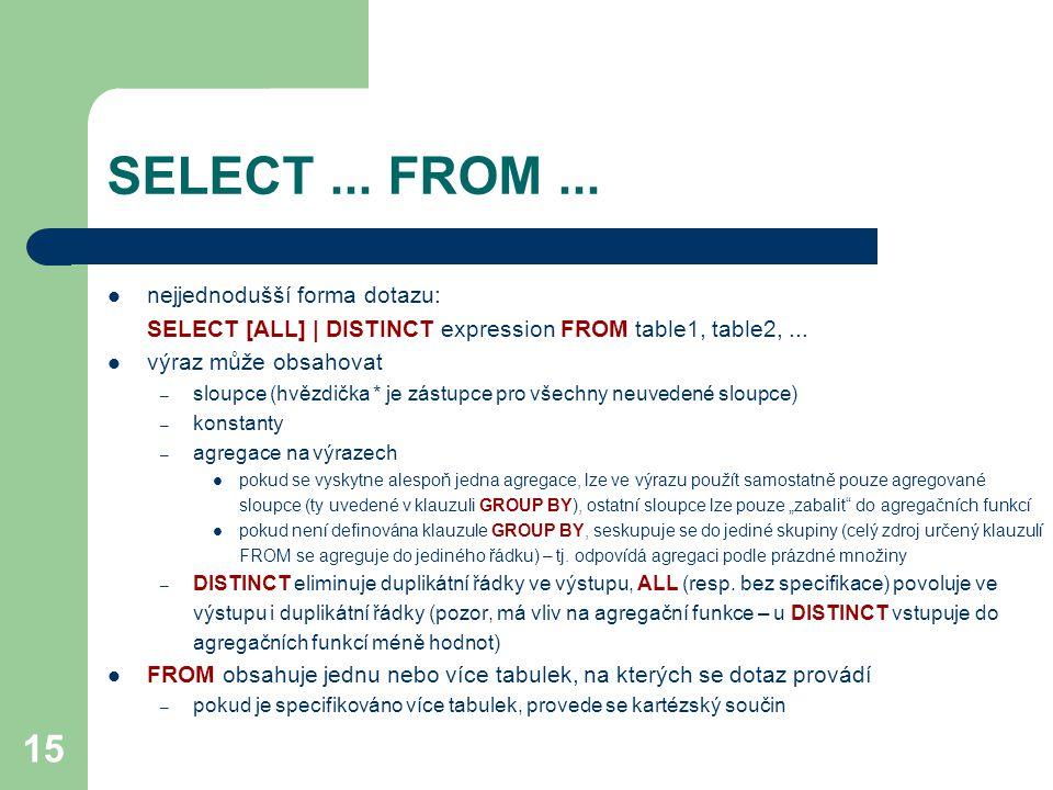 SELECT ... FROM ... nejjednodušší forma dotazu: SELECT [ALL] | DISTINCT expression FROM table1, table2, ...
